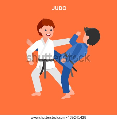 Cute vector character child. Illustration for martial art judo poster. Kid wearing kimono and training judo. Vector fun child. Illustration of Kid and Sport. Child take judo fighting pose - stock vector