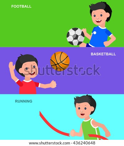 Cute vector character child playing football, basketball, a child playing with a kite, a child runs. Cheerful child. Happy boy kid illustration. Detailed character child - stock vector