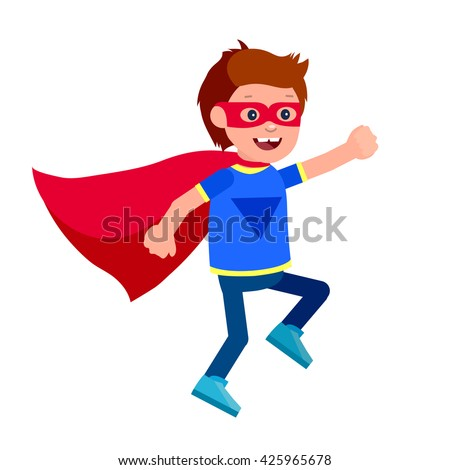 Cute vector character child. Super hero kids playing, fly