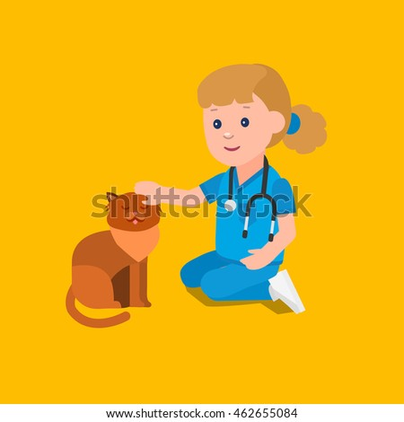 Cute vector character girl. Kid playing to be a doctor or nurse with animal