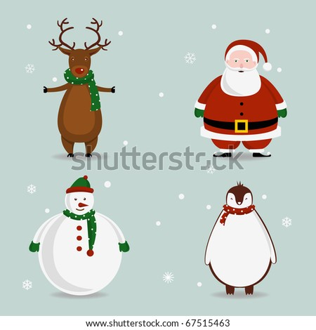 Cute Vector Christmas Characters - stock vector