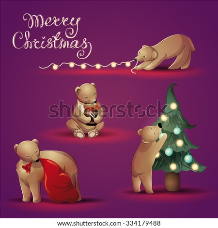 Cute vector christmas illustration with bear family. Bear cub plays with lights, hugs honey present, decorates the christmas tree. Mother bear brings presents in the bag. Lettering Merry Christmas. - stock vector
