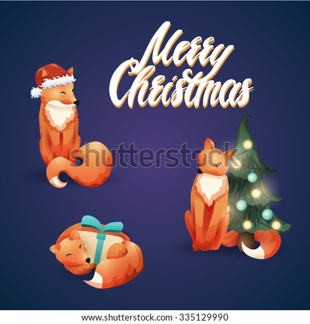 Cute vector christmas illustration with foxes.  - stock vector