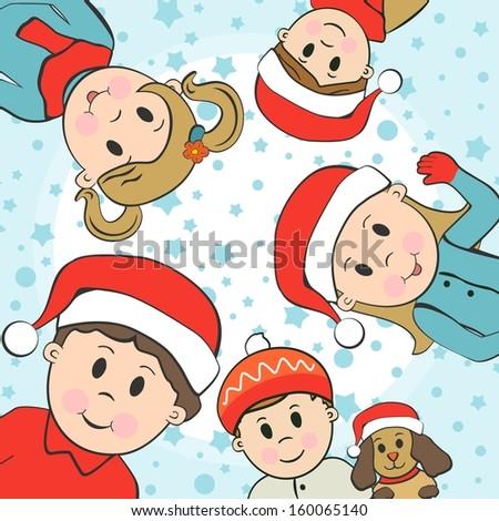 Cute vector Christmas kids - stock vector