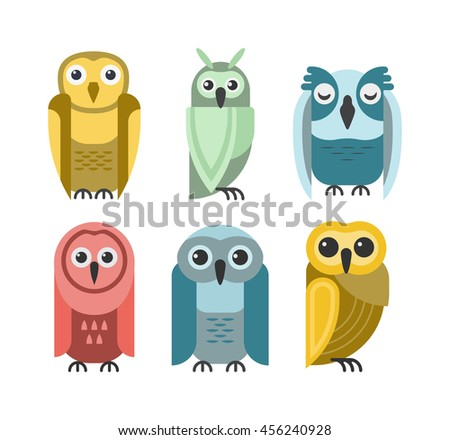 Cute vector collection of bright cartoon owls. Animal character cartoon owl comic funny collection. Doodle cheerful birds behavior cartoon owl. Adorable different owl various expression birds. - stock vector