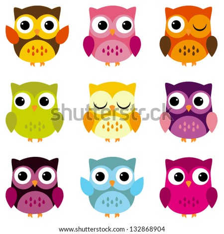 Cute Vector Collection of Bright Owls - stock vector