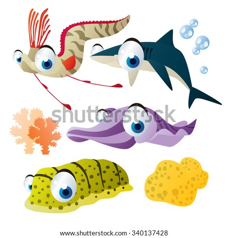 cute vector comic cartoon fish set: collection of sea life animals for children book illustration, flash card games, stickers or mobile applications: oarfish, shark, cuttlefish, sea cucumber  - stock vector