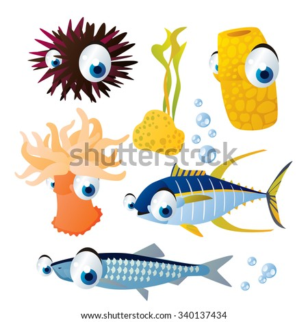cute vector comic cartoon fish set: collection of sea life animals for children book illustration, flash card games, stickers or mobile applications: sea urchin, sponge, sea anemone, tuna, hering - stock vector