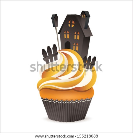 Cute vector cupcake isolated on white background. Halloween collection. - stock vector