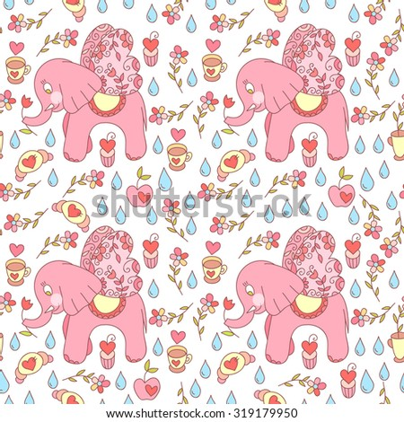 Cute vector elephant colorful seamless pattern. Sweets and cute flowers.