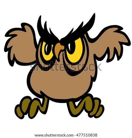 Cute vector flying owl character. Vector illustration.