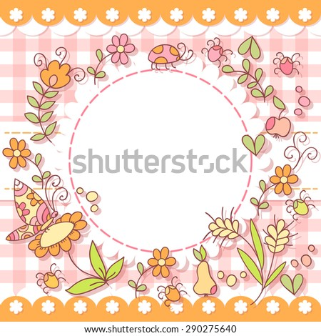 Cute vector forest photo frame. Baby shower card. Scrapbook elements. Vector illustration. - stock vector