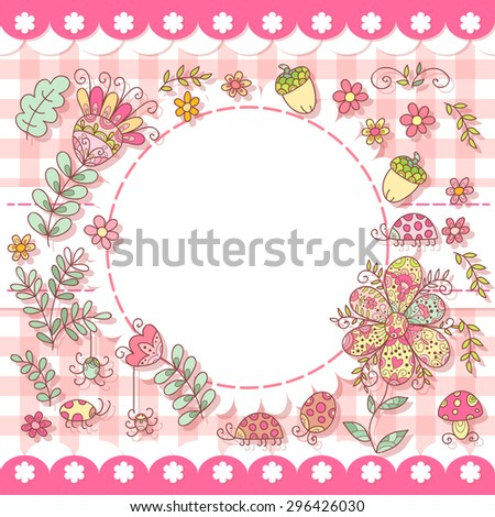 Cute vector forest photo frame. Baby shower card. Scrapbook elements. Vector sweet  illustration. - stock vector