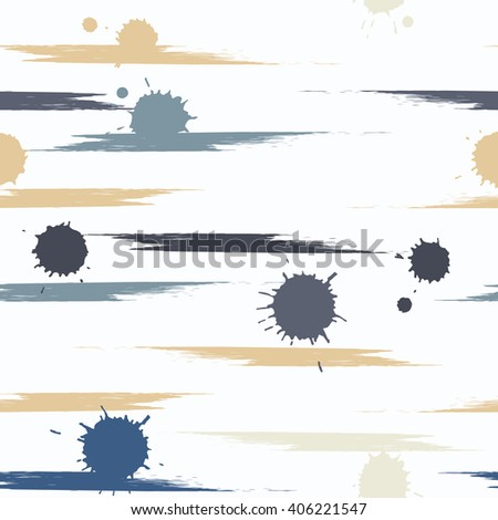 Cute vector geometric seamless pattern. Brush strokes and blots. Hand drawn grunge texture. Abstract forms. Endless texture can be used for printing onto fabric or paper.