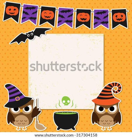 Cute vector Halloween party card with witch owls and bat - stock vector