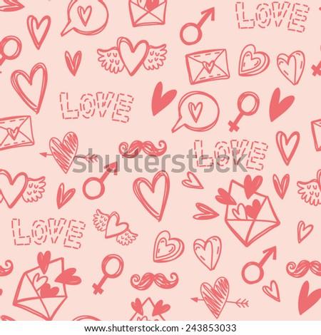 Cute Vector Handdrawn Pattern Symbols Love Stock Vector 243853033