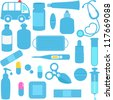 Cute vector icons: Medicines, Pills, Medical Equipments in Blue - stock photo
