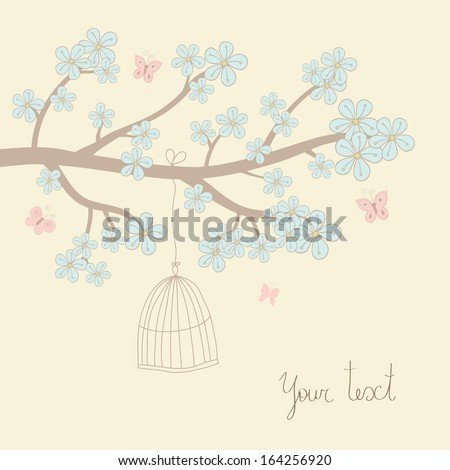 Cute vector illustration in light tones. Branch with blue flowers, butterfly, birdcage