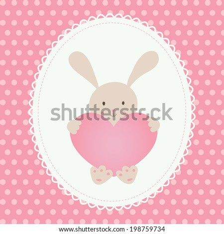 Cute vector illustration. Little toy rabbit with heart, white lace, pink background with polka dot. - stock vector