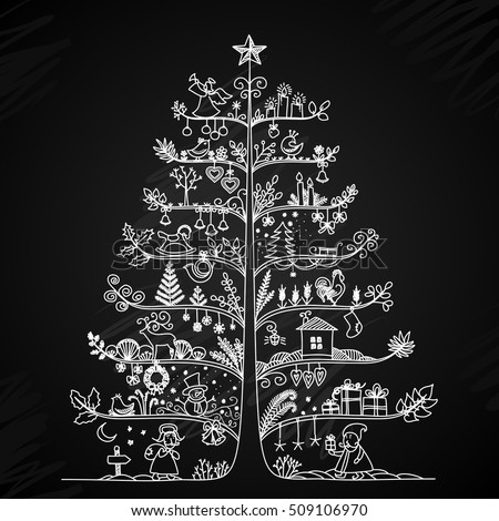 Cute Vector Illustration Of A Christmas Tree In Retro Style Styling Drawing Chalk On