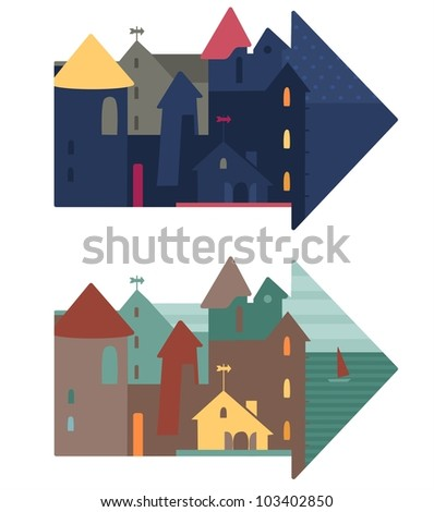 Cute vector illustration of a city.City houses. Vector illustration for you design - stock vector