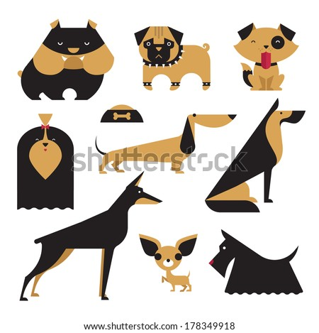 Cute vector illustration of various dog breeds - stock vector