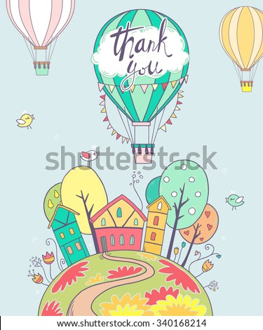 Cute vector illustration with sweet spring home, sun,trees, flowers, clouds and air balloons - stock vector