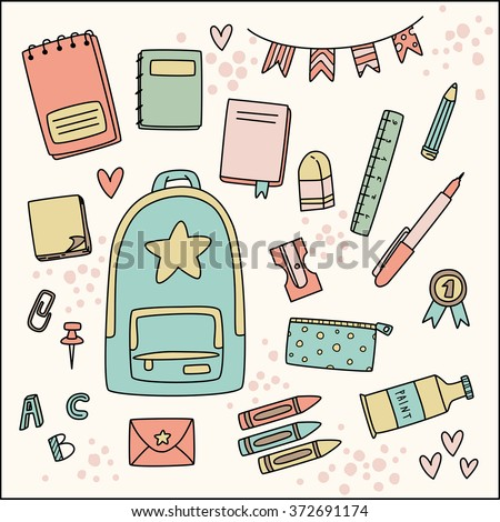 Cute vector image with school stationery icons in vintage colors: notebook, backpack, pencil, crayon, pin, ruler, banner, etc. - stock vector