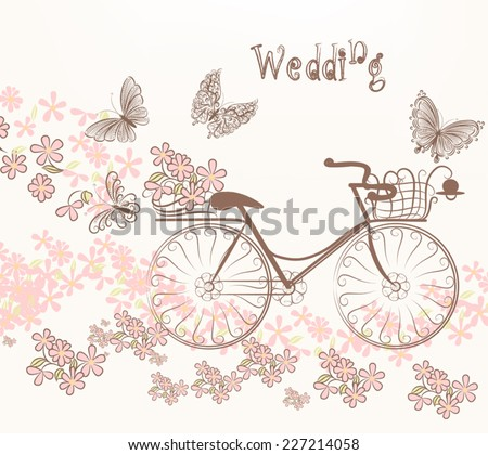 Cute vector invitation with fake bicycle and flowers - stock vector