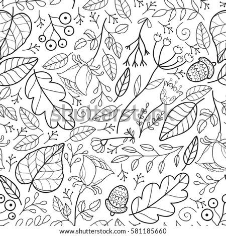 Cute Vector Leaves And Flowers Forest Seamless Pattern Abstract Black White Print With