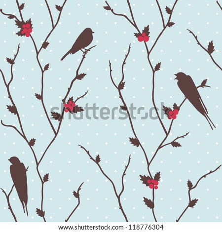 Cute vector merry Christmas card with birds and holly - stock vector