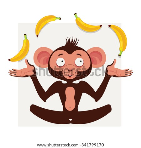 Cute vector monkey - stock vector