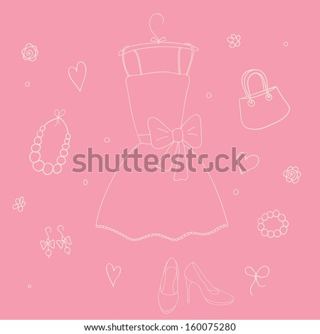 Cute vector outline girlish things on pink background.