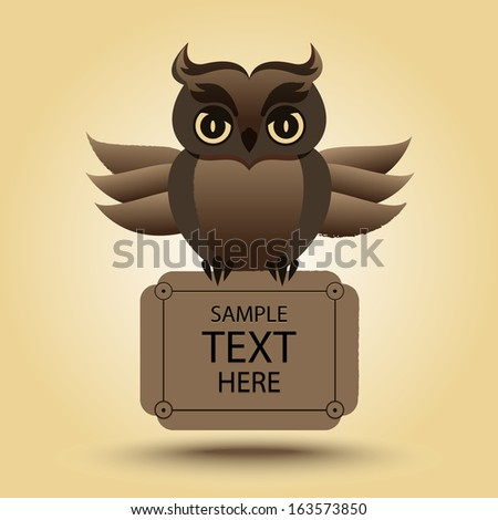 Cute vector owl with place for text - stock vector