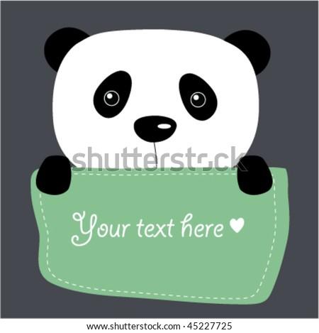 cute vector panda with text box - stock vector