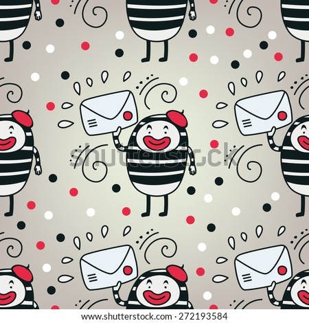 Cute vector pantomime character with letter seamless pattern - stock vector