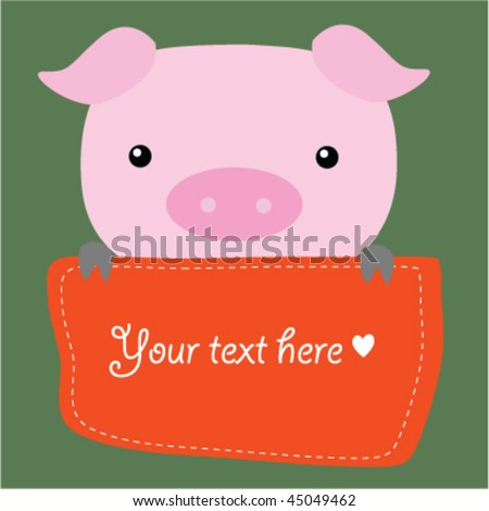 Cute Vector Pig With Text Box 8