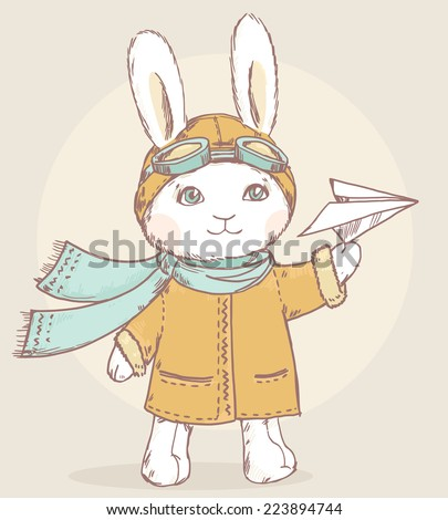 Cute vector pilot rabbit with paper airplane - stock vector