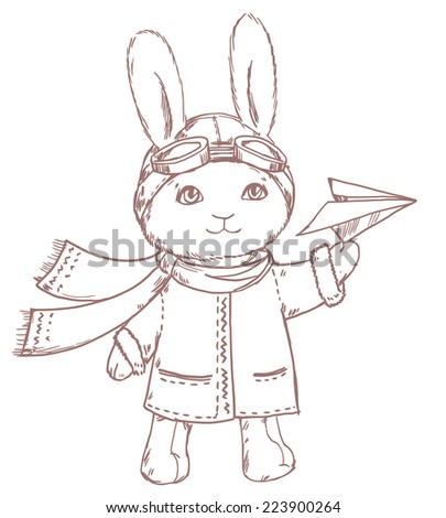 Cute vector pilot rabbit with paper airplane isolated on white background - stock vector