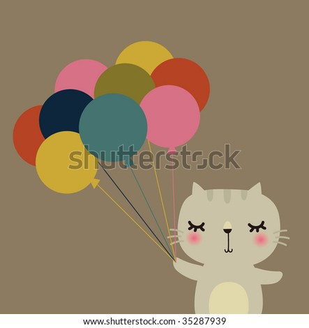 Cute vector rabbit with balloon - stock vector