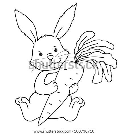 Раскраска кролика с морковками