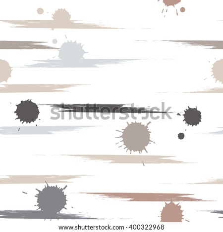 Cute vector seamless pattern . Brush strokes and blots.  Endless texture can be used for printing onto fabric or paper.