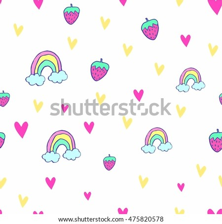 cute vector seamless pattern with hand drawn rainbow, strawberry and hearts. textile design. teenage pattern. children wallpaper.