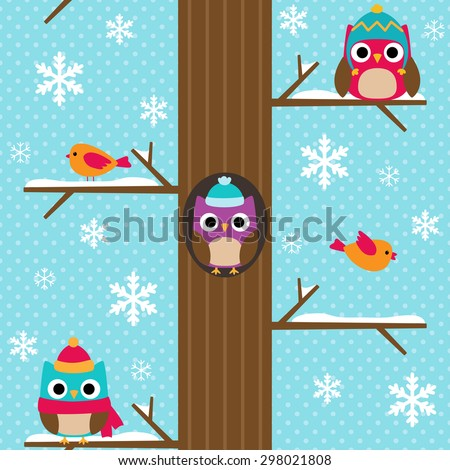 Cute vector seamless winter pattern with snowflakes. Bright background with tree and owls sitting on branches in snow. - stock vector