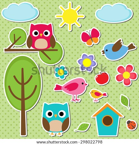 Cute vector set of different summer stickers. Nature decorative elements for scrapbooking - stock vector