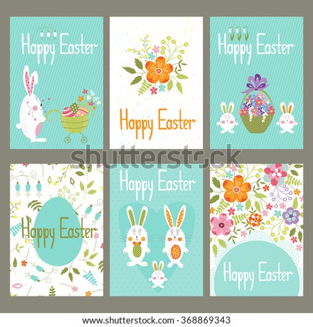 Cute vector set easter cards funny stock vector 368869343 cute vector set of easter cards with funny bunnies and flowers colorful spring elements negle Gallery