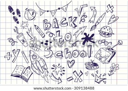"Cute vector set of hand drawn illustrations ""Back to school"". - stock vector"