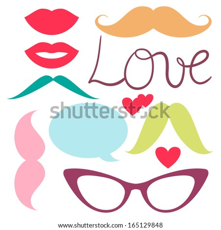 Cute vector set of hipster mustache with glasses, heart and lips