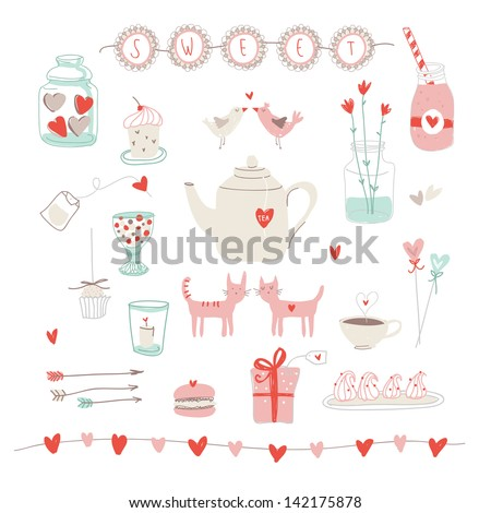 Cute vector set of love and sweets - stock vector