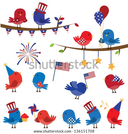 Cute Vector Set of Patriotic or Fourth of July Themed Birds and Branches - stock vector